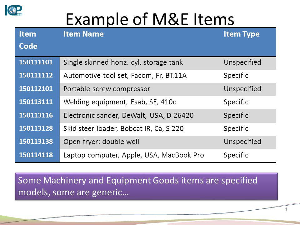 4 Example of M&E Items Item Code Item NameItem Type 150111101 Single skinned horiz. cyl. storage tankUnspecified 150111112 Automotive tool set, Facom,