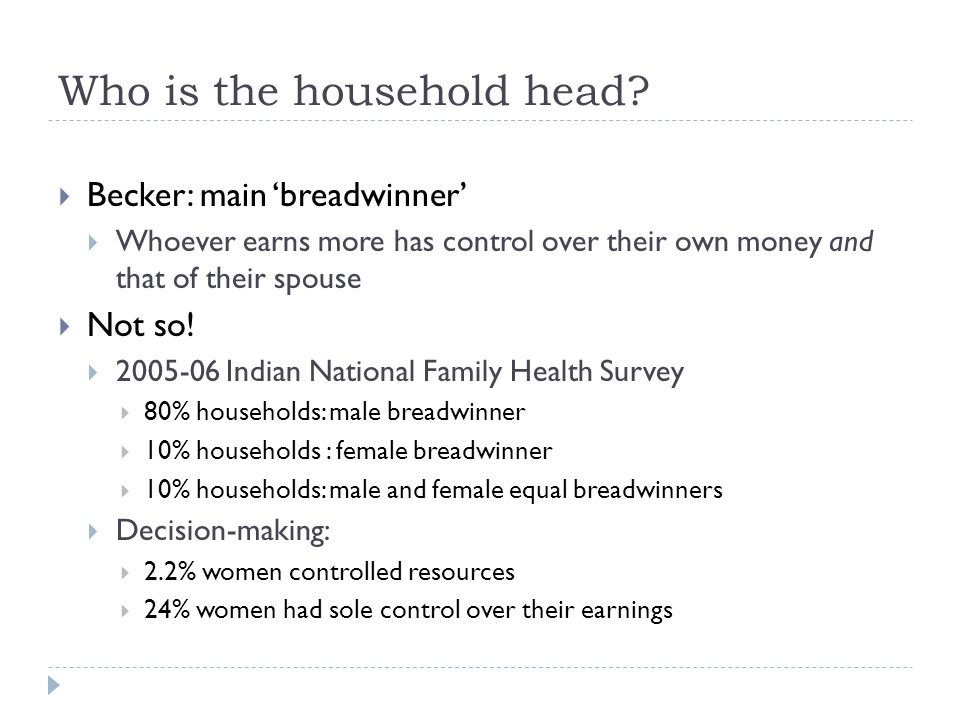 Who is the household head.