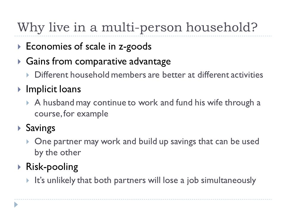 Separate Spheres model - assumptions Couple behaving according to traditional gender roles Man contributes money from paid work Woman contributes time to the household Both get utility from z-goods They have to decide how much money/time to contribute to producing z-goods, either L (low) or H (high) One-shot game