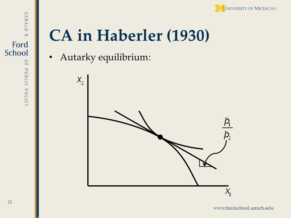 www.fordschool.umich.edu CA in Haberler (1930) 11 Autarky equilibrium: