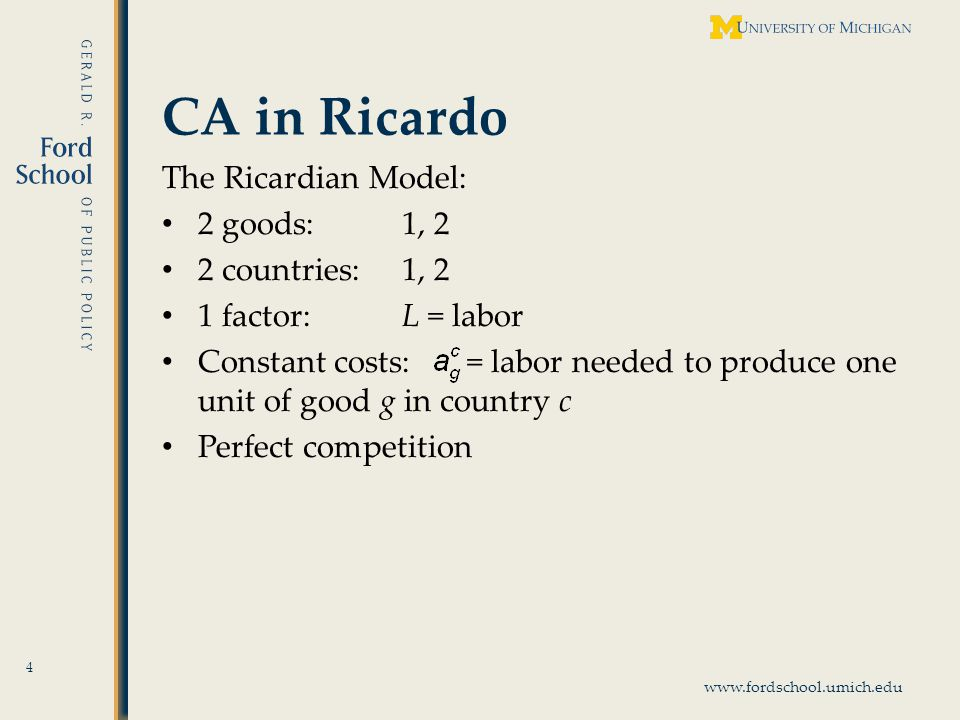 www.fordschool.umich.edu CA and Gains from Trade 15 It is not sufficient: