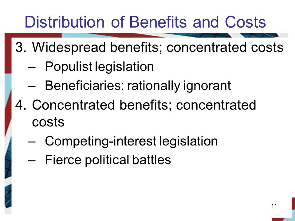 Distribution of Benefits and Costs 3.Widespread benefits; concentrated costs –Populist legislation –Beneficiaries: rationally ignorant 4.Concentrated benefits; concentrated costs –Competing-interest legislation –Fierce political battles 11