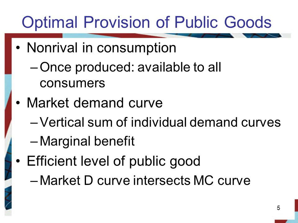 Exhibit 2 Market for public goods 6 10 5 $15 Dollars per hour 2 0 Hours of mosquito spraying per week DmDm DaDa Marginal cost D D e Because public goods, once produced, are available to all in identical amounts, the demand for a public good is the vertical sum of each individuals demand.
