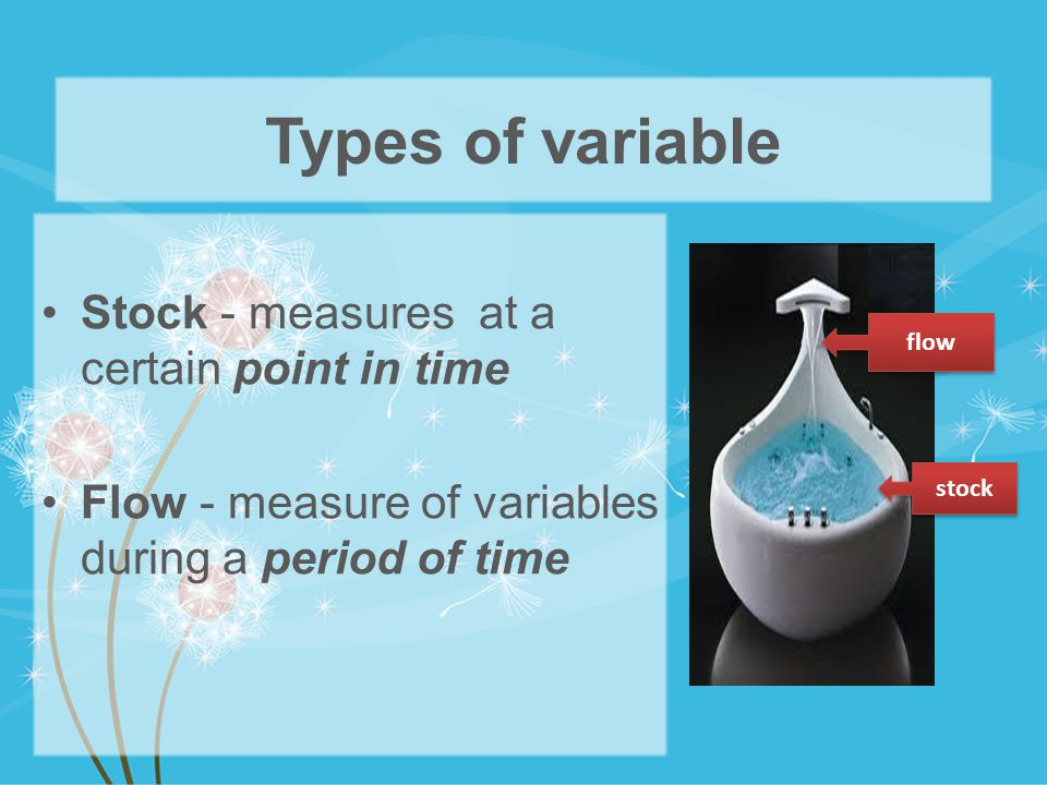 Types of variable Stock - measures at a certain point in time Flow - measure of variables during a period of time flow stock