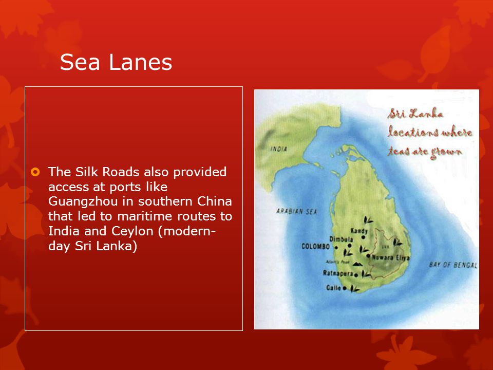 Sea Lanes The Silk Roads also provided access at ports like Guangzhou in southern China that led to maritime routes to India and Ceylon (modern- day Sri Lanka)