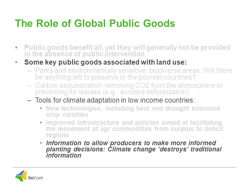 The Role of Global Public Goods Public goods benefit all, yet they will generally not be provided in the absence of public intervention Some key public goods associated with land use: –Parks and environmentally sensitive, biodiverse areas: Will there be anything left to preserve in the poorest countries.