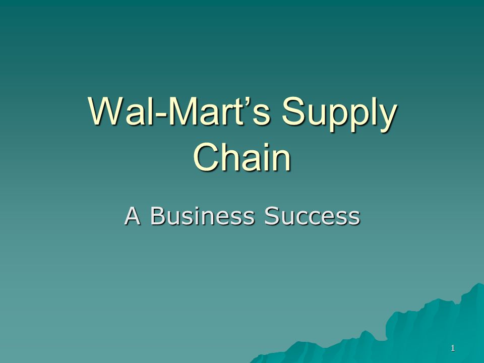 1 Wal-Marts Supply Chain A Business Success
