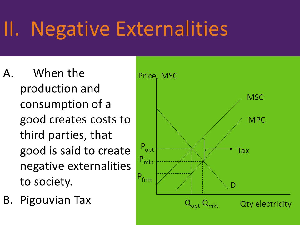 II. Negative Externalities A.When the production and consumption of a good creates costs to third parties, that good is said to create negative extern