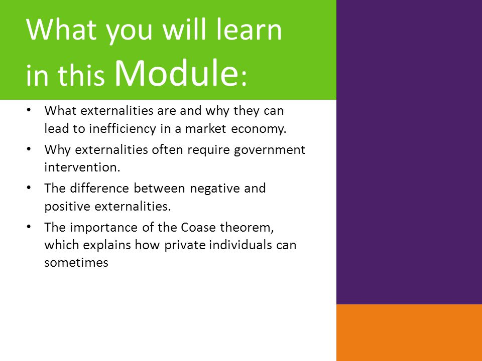 What you will learn in this Module : What externalities are and why they can lead to inefficiency in a market economy. Why externalities often require