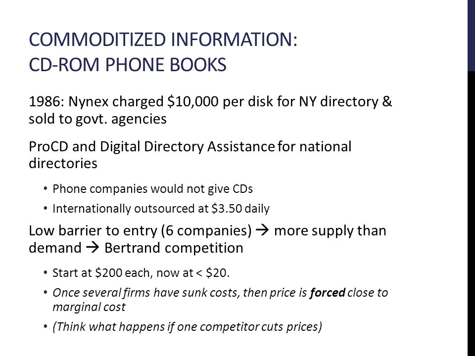 COMMODITIZED INFORMATION: CD-ROM PHONE BOOKS 1986: Nynex charged $10,000 per disk for NY directory & sold to govt.