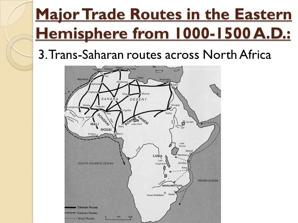 Major Trade Routes in the Eastern Hemisphere from 1000-1500 A.D.: 3. Trans-Saharan routes across North Africa