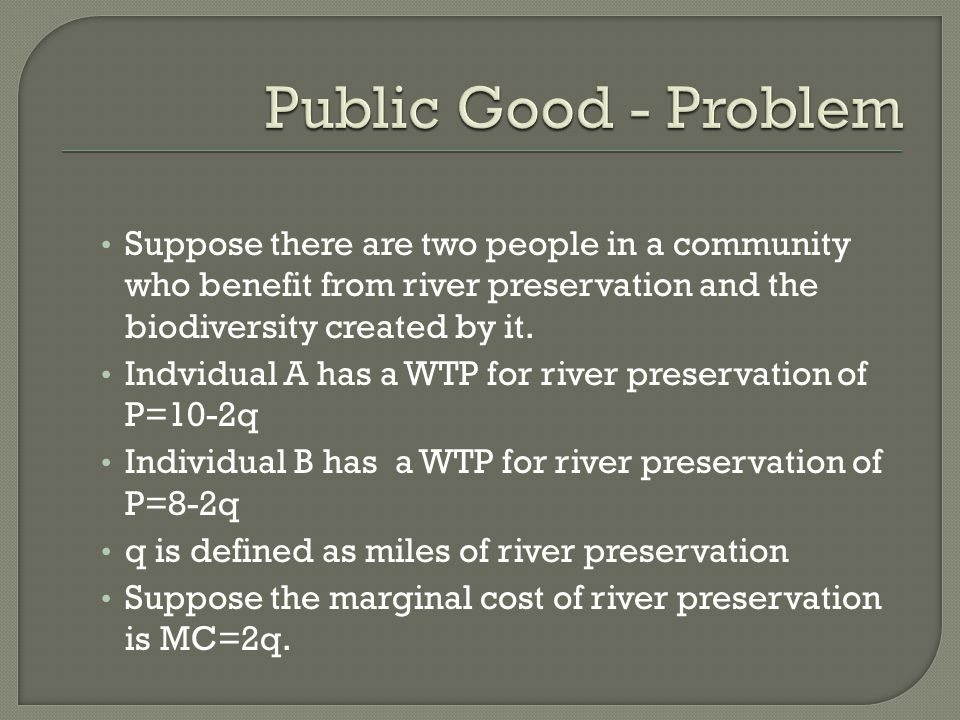 Suppose there are two people in a community who benefit from river preservation and the biodiversity created by it.