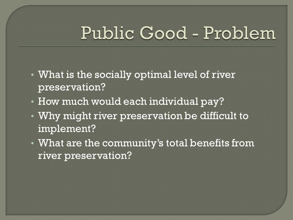 What is the socially optimal level of river preservation.