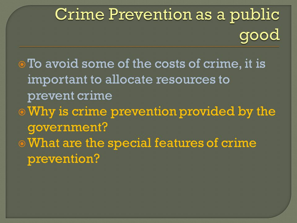 To avoid some of the costs of crime, it is important to allocate resources to prevent crime Why is crime prevention provided by the government? What a