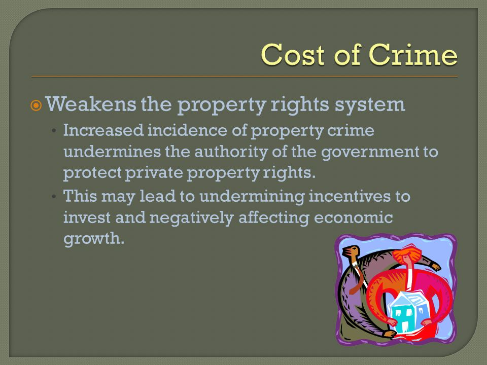 Weakens the property rights system Increased incidence of property crime undermines the authority of the government to protect private property rights.