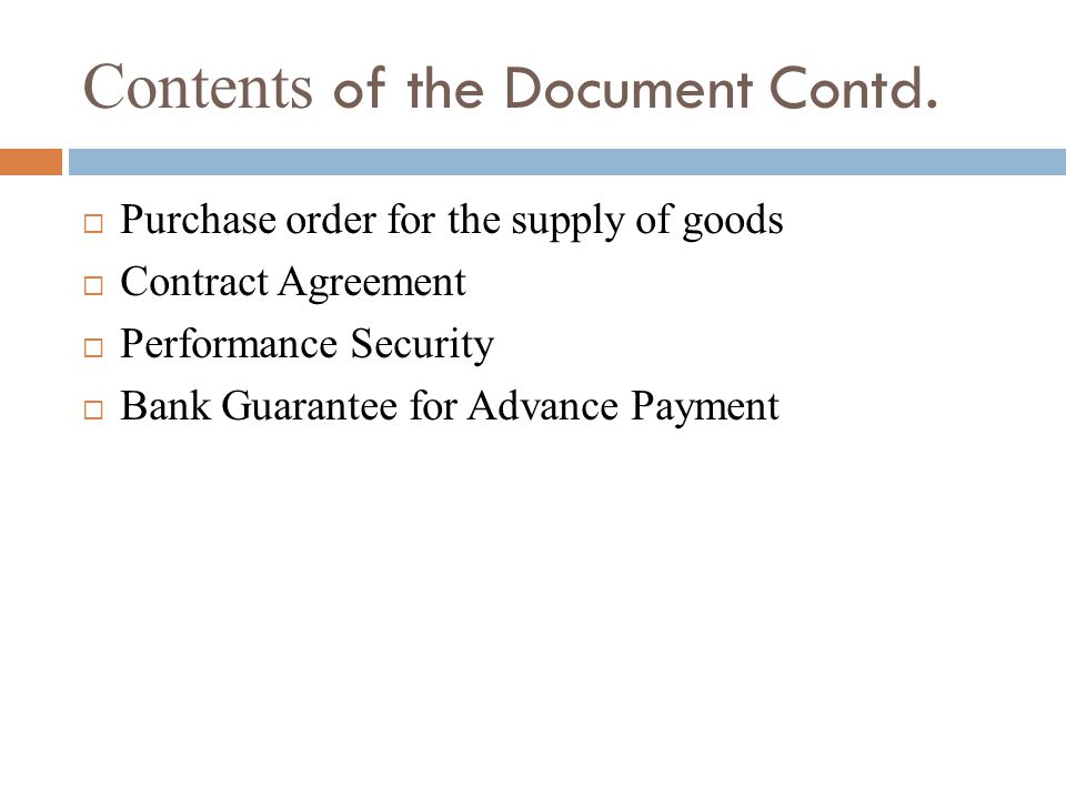 Contents of the Document Contd.