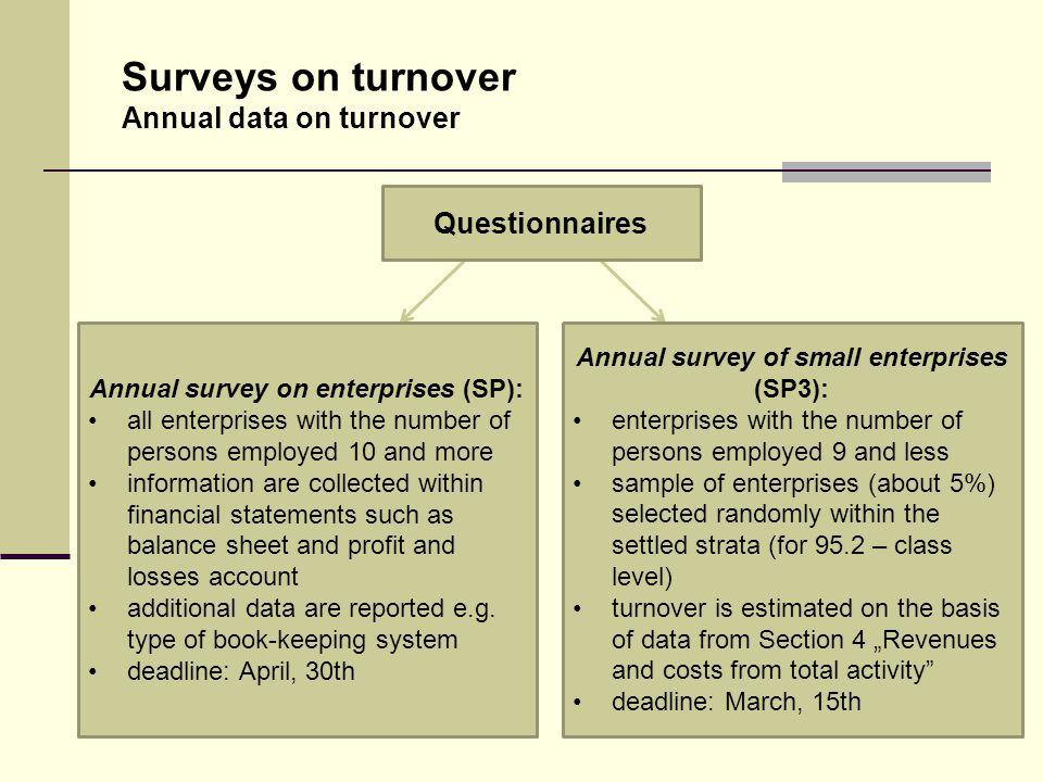 13 Surveys on turnover Annual data on turnover Annual survey on enterprises (SP): all enterprises with the number of persons employed 10 and more information are collected within financial statements such as balance sheet and profit and losses account additional data are reported e.g.