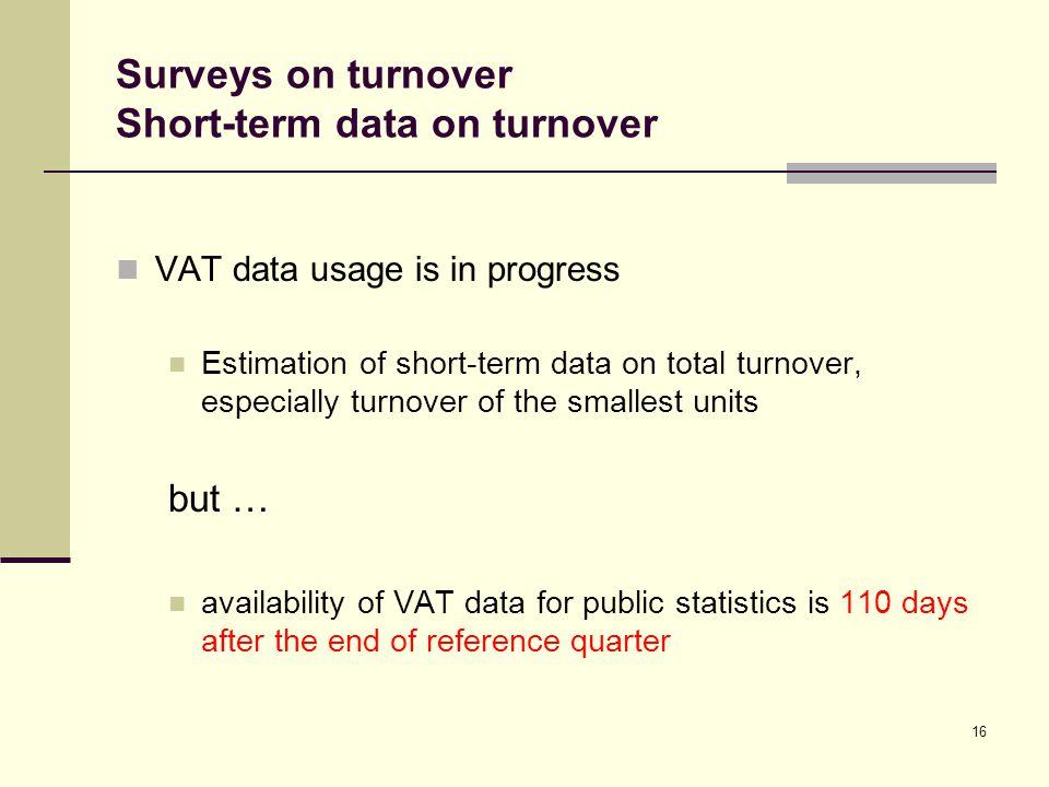Surveys on turnover Short-term data on turnover VAT data usage is in progress Estimation of short-term data on total turnover, especially turnover of