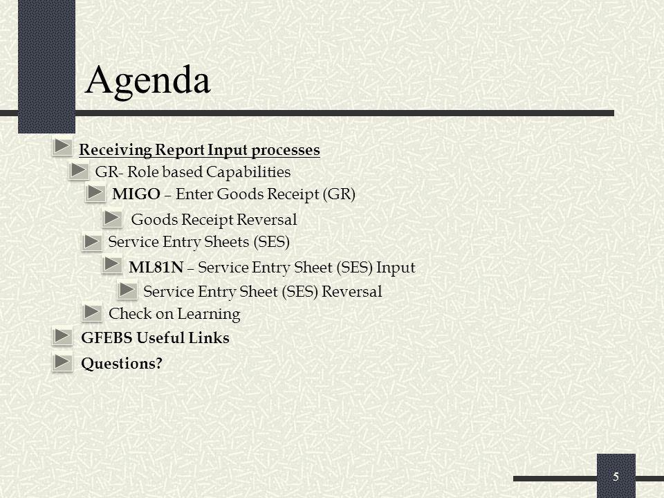 Agenda 5 Receiving Report Input processes GR- Role based Capabilities MIGO – Enter Goods Receipt (GR) Goods Receipt Reversal Service Entry Sheets (SES