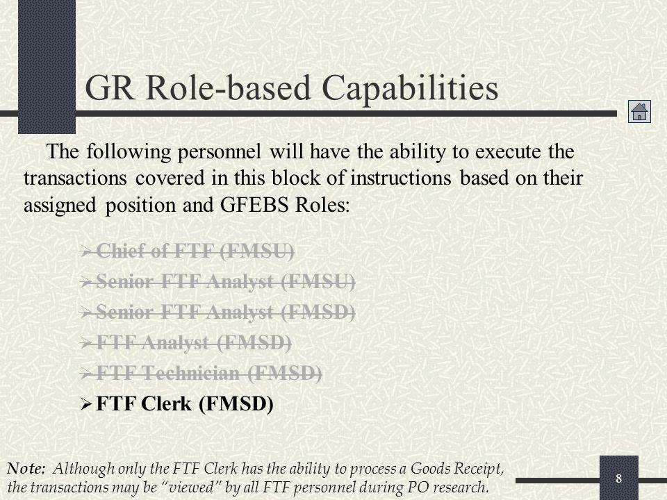 Chief of FTF (FMSU) Senior FTF Analyst (FMSU) Senior FTF Analyst (FMSD) FTF Analyst (FMSD) FTF Technician (FMSD) FTF Clerk (FMSD) 8 Note: Although onl