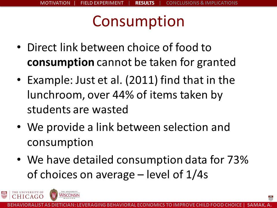 BEHAVIORALIST AS DIETICIAN: LEVERAGING BEHAVIORAL ECONOMICS TO IMPROVE CHILD FOOD CHOICE | SAMAK, A.