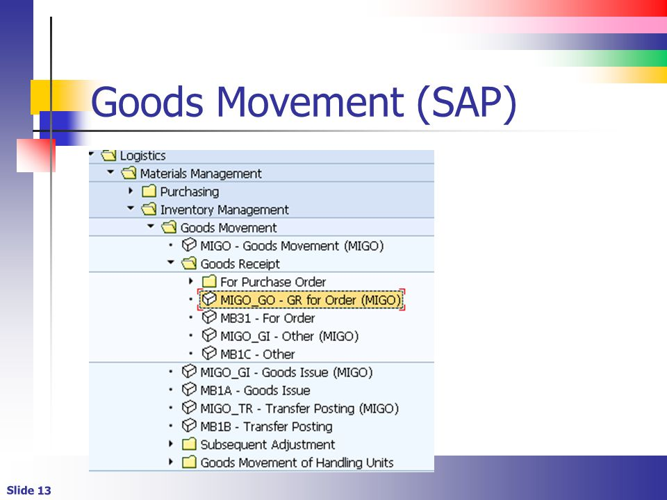 Slide 13 Goods Movement (SAP)