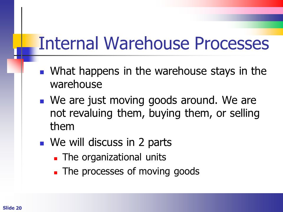 Slide 20 Internal Warehouse Processes What happens in the warehouse stays in the warehouse We are just moving goods around.
