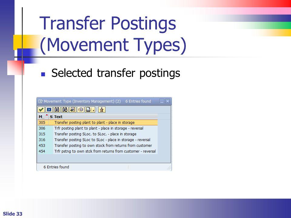 Slide 33 Transfer Postings (Movement Types) Selected transfer postings