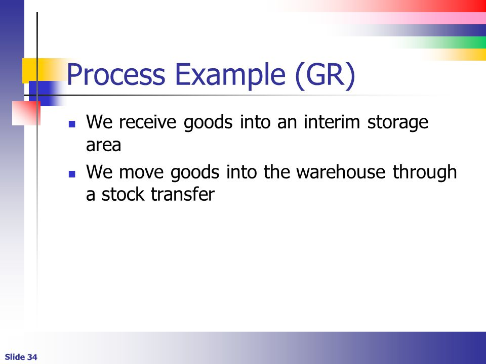 Slide 34 Process Example (GR) We receive goods into an interim storage area We move goods into the warehouse through a stock transfer