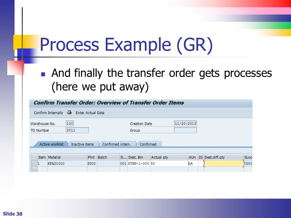Slide 38 Process Example (GR) And finally the transfer order gets processes (here we put away)