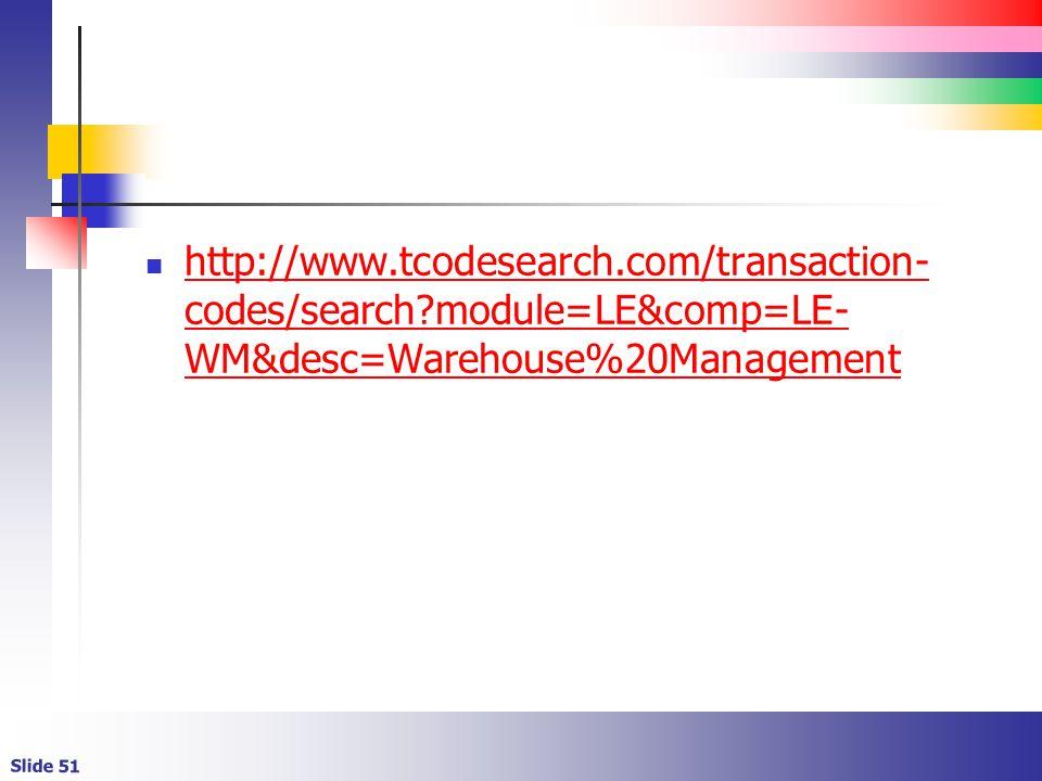 Slide 51 http://www.tcodesearch.com/transaction- codes/search module=LE&comp=LE- WM&desc=Warehouse%20Management http://www.tcodesearch.com/transaction- codes/search module=LE&comp=LE- WM&desc=Warehouse%20Management