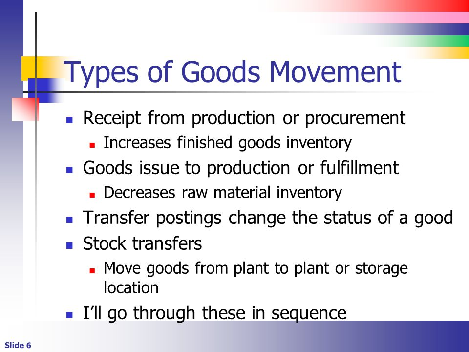 Slide 6 Types of Goods Movement Receipt from production or procurement Increases finished goods inventory Goods issue to production or fulfillment Decreases raw material inventory Transfer postings change the status of a good Stock transfers Move goods from plant to plant or storage location Ill go through these in sequence