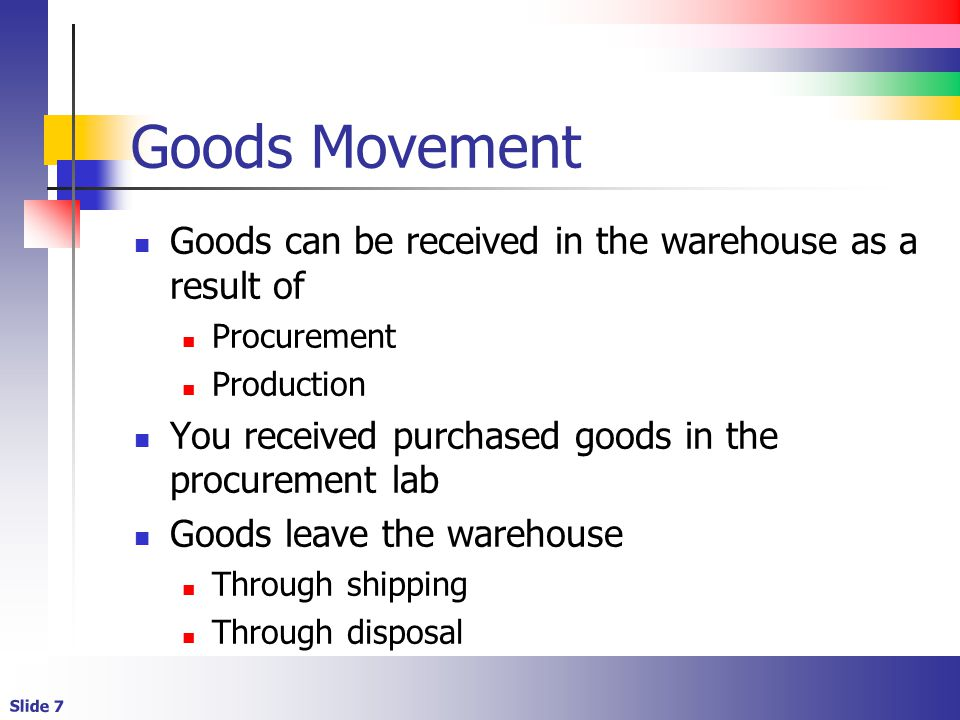 Slide 48 Production (steps) The same confirmations are made When raw materials are issued to production When finished goods are transferred back to the warehouse