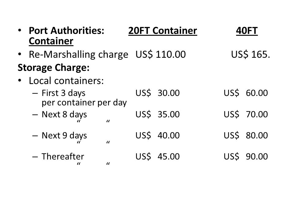 Port Authorities: 20FT Container 40FT Container Re-Marshalling charge US$ US$ 165.