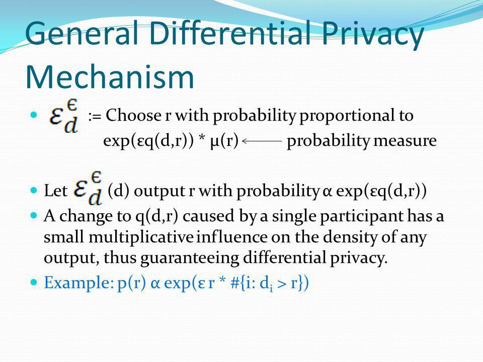 General Differential Privacy Mechanism := Choose r with probability proportional to exp(εq(d,r)) * μ(r) probability measure Let (d) output r with probability α exp(εq(d,r)) A change to q(d,r) caused by a single participant has a small multiplicative influence on the density of any output, thus guaranteeing differential privacy.