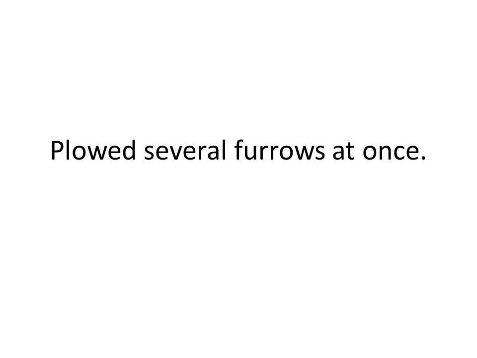 Plowed several furrows at once.