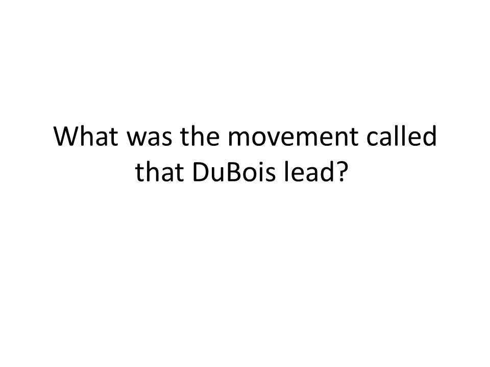 What was the movement called that DuBois lead?