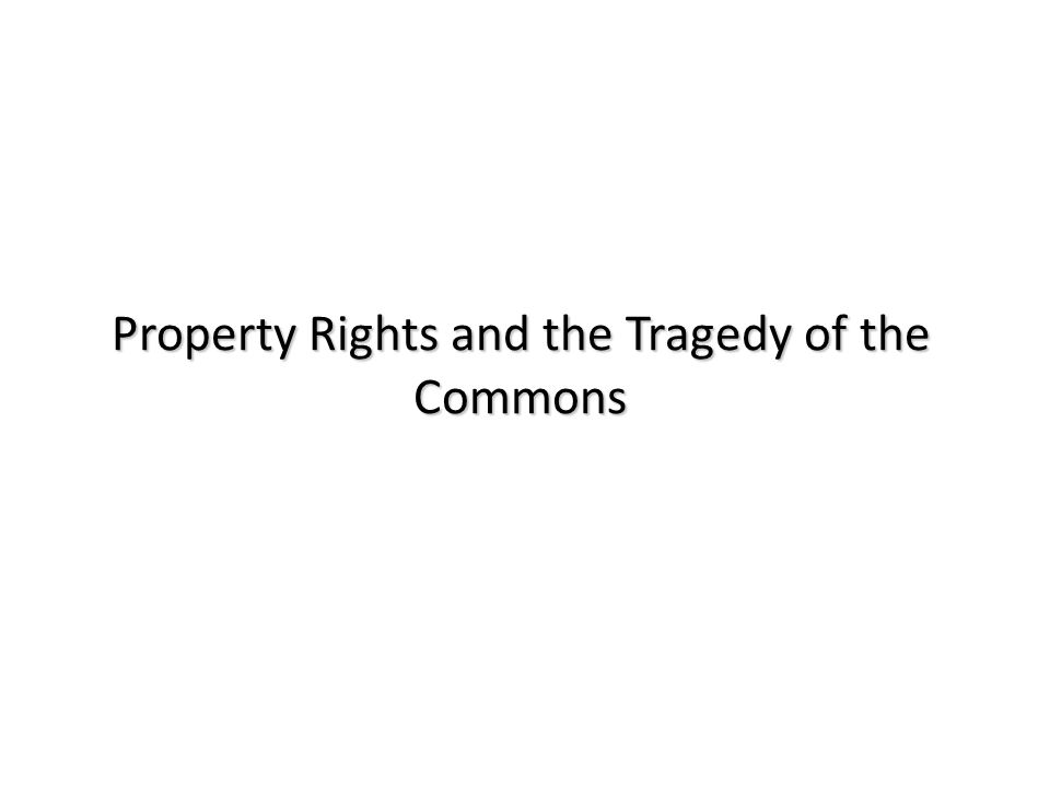 Property Rights and the Tragedy of the Commons