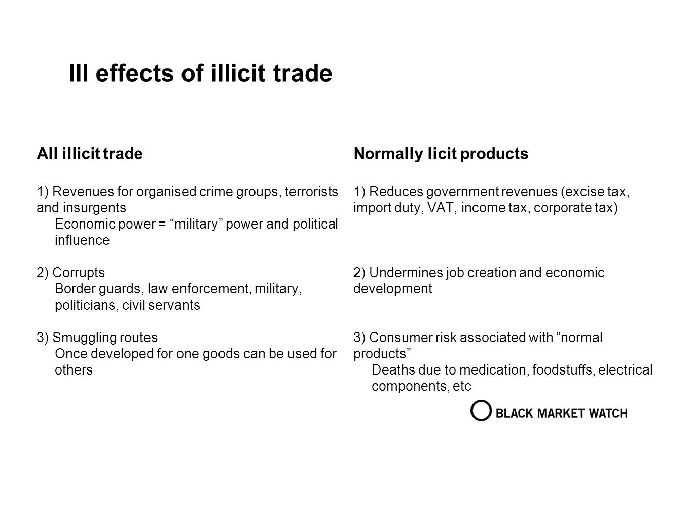 Ill effects of illicit trade All illicit trade 1) Revenues for organised crime groups, terrorists and insurgents Economic power = military power and p