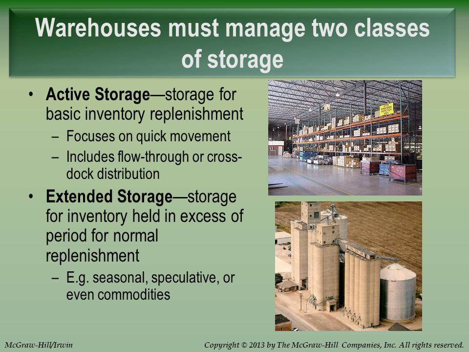 Copyright © 2013 by The McGraw-Hill Companies, Inc. All rights reserved.McGraw-Hill/Irwin Active Storage storage for basic inventory replenishment –Fo