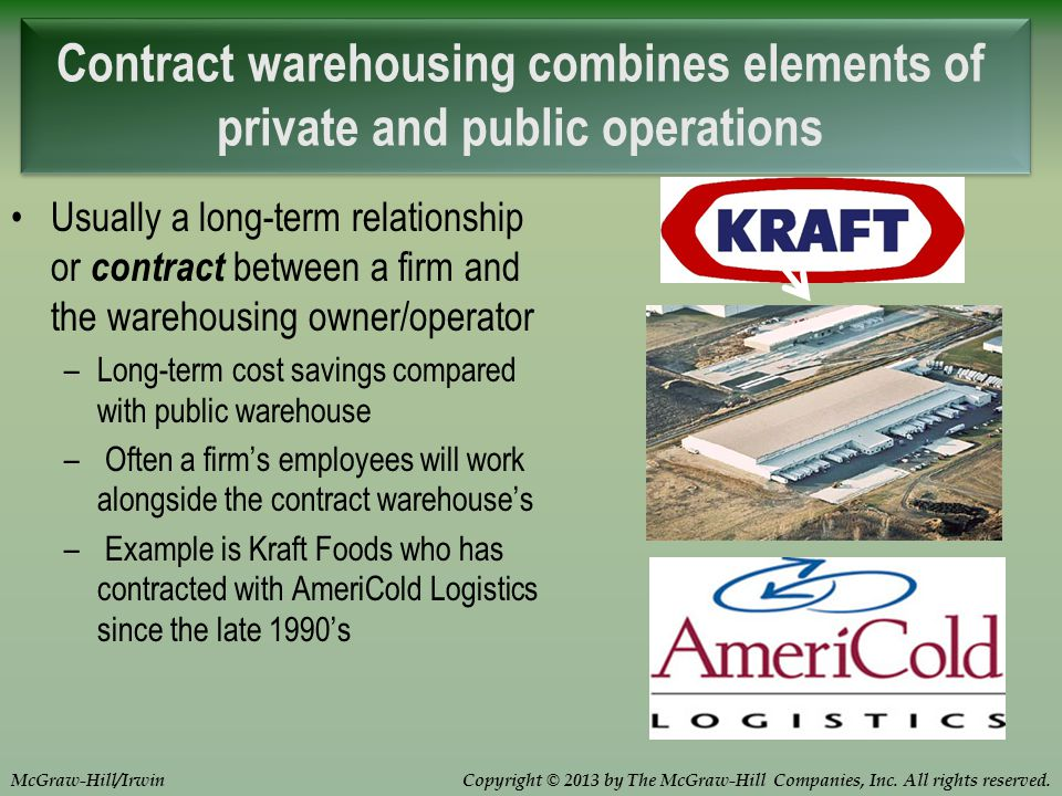 Copyright © 2013 by The McGraw-Hill Companies, Inc. All rights reserved.McGraw-Hill/Irwin Contract warehousing combines elements of private and public