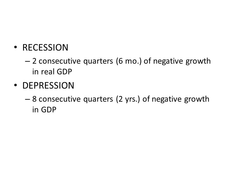 RECESSION – 2 consecutive quarters (6 mo.) of negative growth in real GDP DEPRESSION – 8 consecutive quarters (2 yrs.) of negative growth in GDP