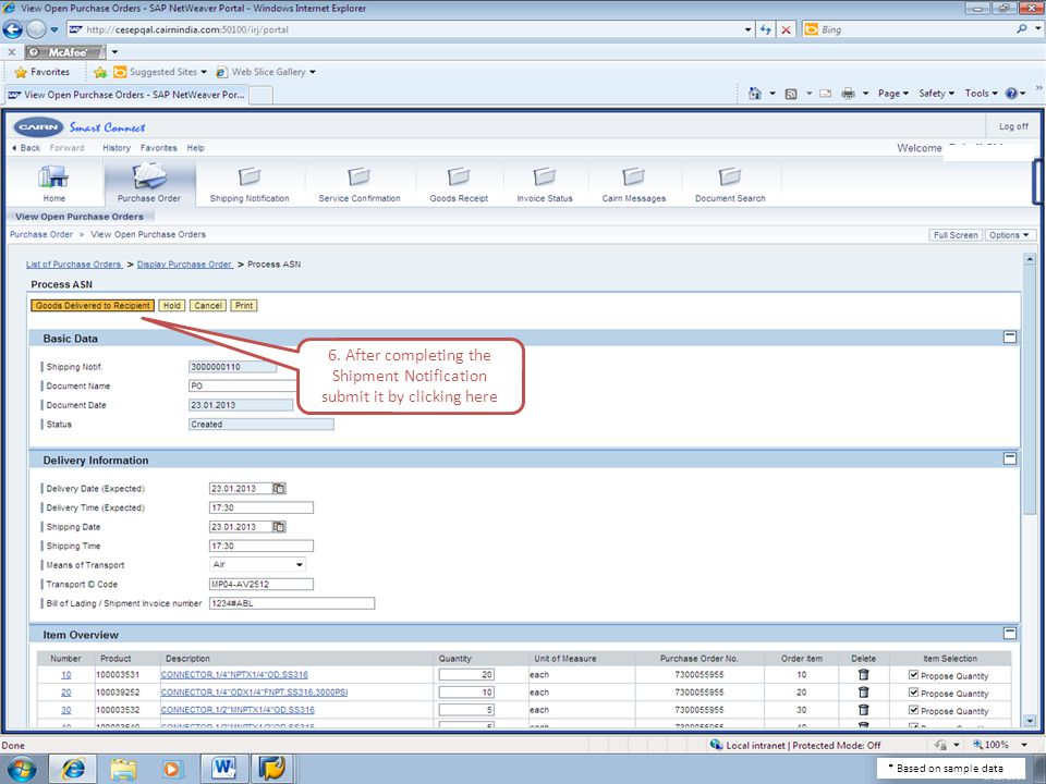 6. After completing the Shipment Notification submit it by clicking here * Based on sample data