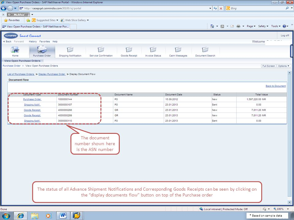 The status of all Advance Shipment Notifications and Corresponding Goods Receipts can be seen by clicking on the display documents flow button on top of the Purchase order The document number shown here is the ASN number * Based on sample data