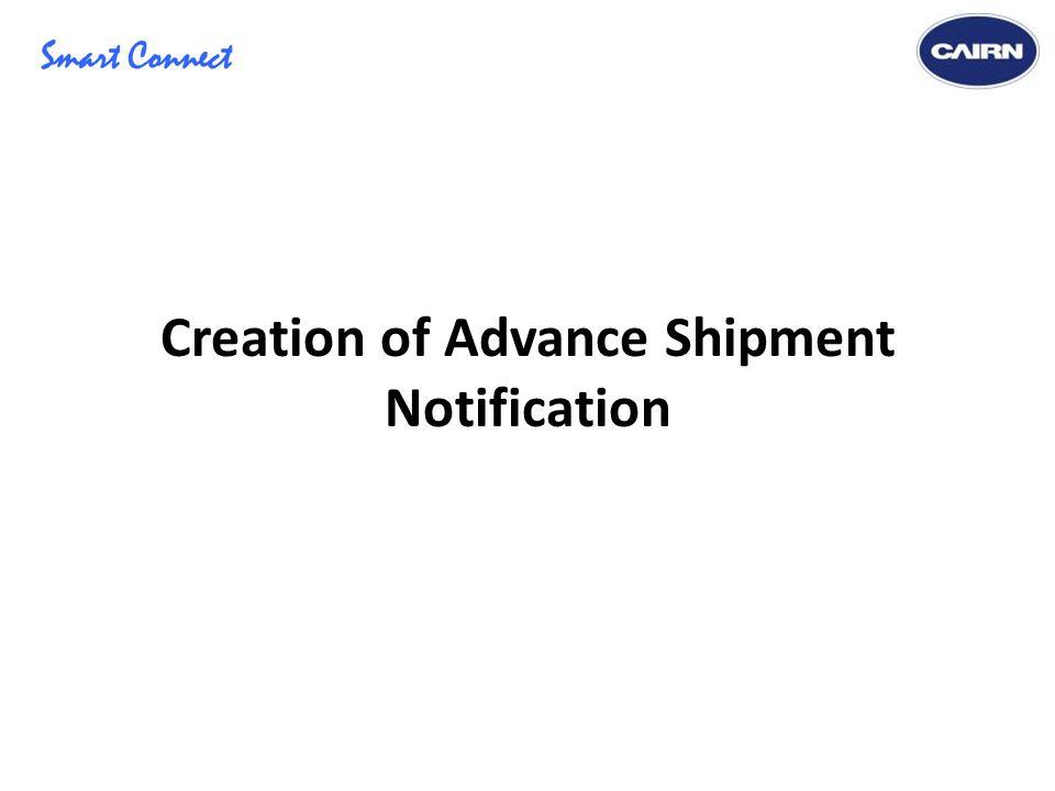 Creation of Advance Shipment Notification