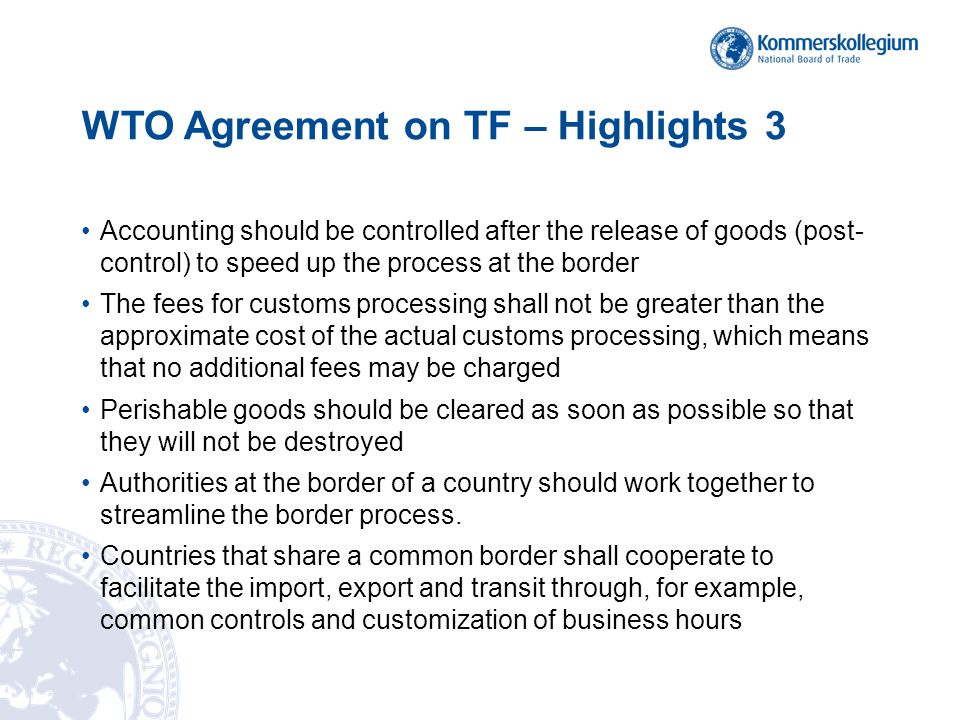 Agreeement on Trade Facilitation Articles Section I Article 1.