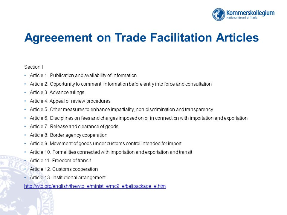 WTO Agreement – CEFACT Deliverables in TFIG mapping 1 Article 1 - none Article 2.
