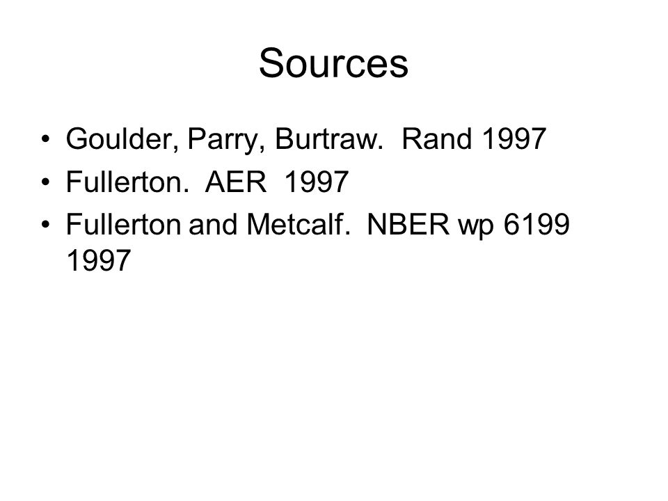 Sources Goulder, Parry, Burtraw. Rand 1997 Fullerton.