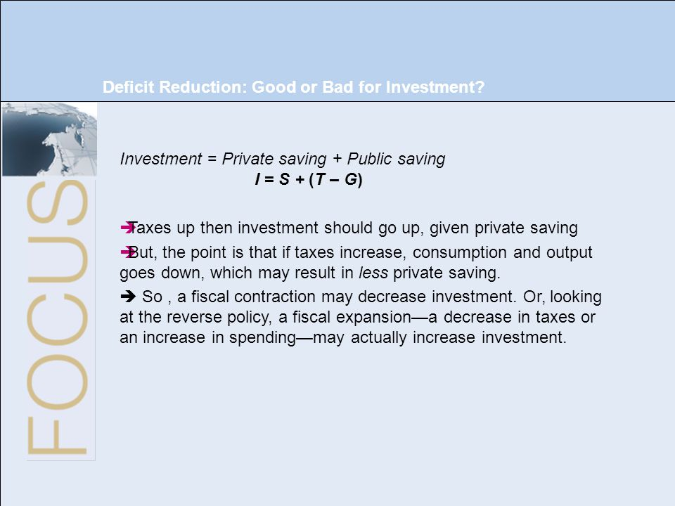 22 of 33 Deficit Reduction: Good or Bad for Investment? Investment = Private saving + Public saving I = S + (T – G) Taxes up then investment should go