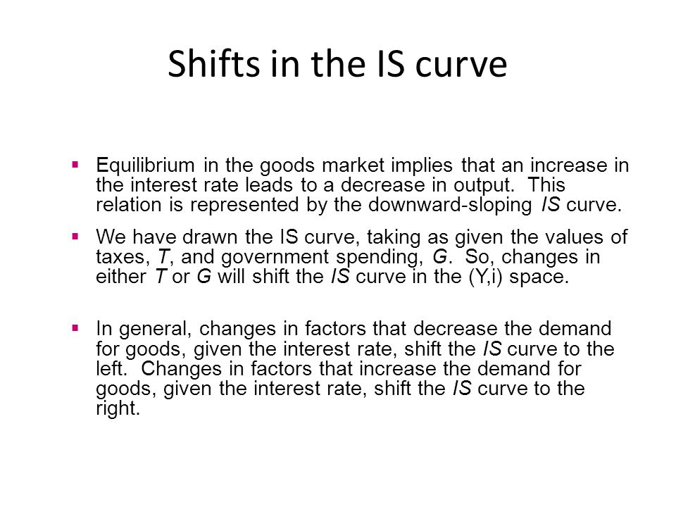 Shifts in the IS curve Equilibrium in the goods market implies that an increase in the interest rate leads to a decrease in output. This relation is r